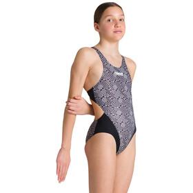 arena Kikko Swim Tech Back Traje Baño Una Pieza Niñas, gris/negro